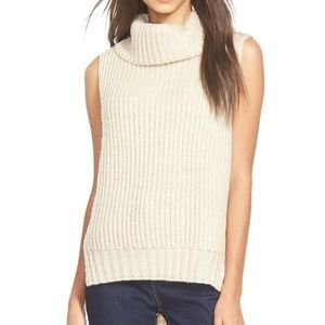 ASTR The Label Cream Knit Sleeveless Turtleneck